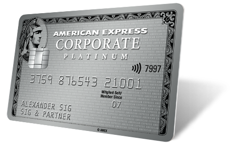 Unterschrift American Express Karte.American Express Corporate Platinum Card Die